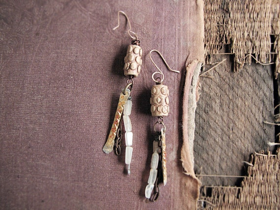 Pillars of gold - rustic metal earrings - artisan assemblage - ceramic and moonstone