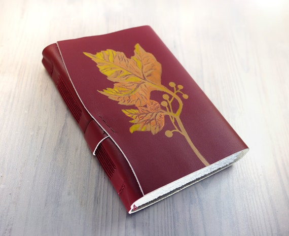 Journal - Autumn Fall Leather Journal - Leather Cover Blank Painted Notebook / Sketchbook - CHRISTMAS DISCOUNT SALE