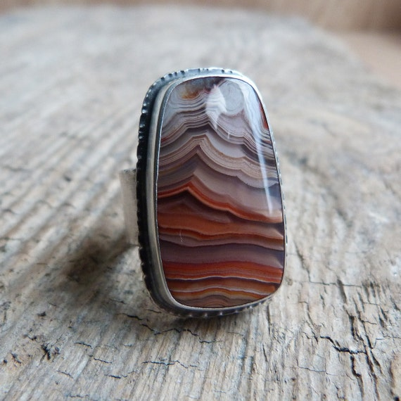 Lace Agate Ring in Oxidized Sterling Silver - Ruffle Ring in Lace Agate