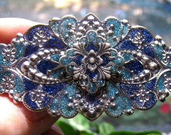 Medium and Dark Blue Hand Enameled Hair Ornament/Barrette