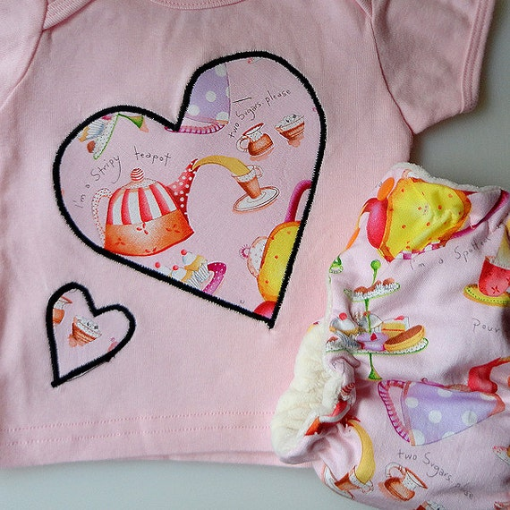 T-Shirt and Diaper Set - Newborn - Tea for Two
