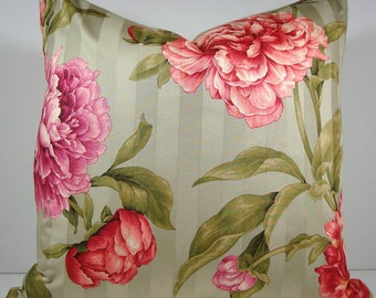 "Pink and Peach Peonies on Green Pillow Cover / 20""x20"""