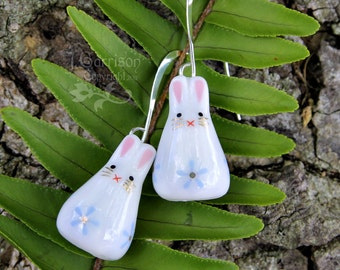 Sweet bunny rabbit earrings - painted ceramic bunny beads with light blue flowers on silver earwires - great gift -Free Shipping USA