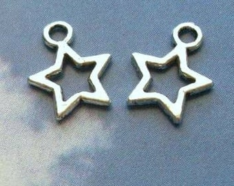 100 tiny star outline charms, silver tone, 12mm
