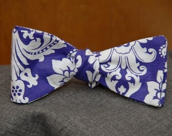 White Damask on Purple  Bow tie