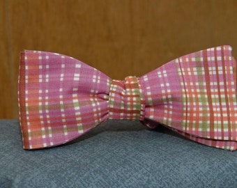 Rainbow Sherbet Plaid Fun  Bow Tie