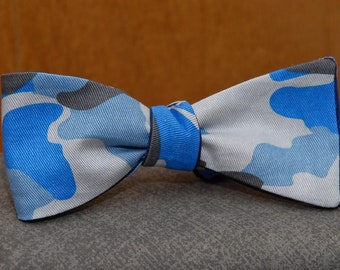 Blue Camouflage  Bow Tie