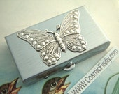 Silver Butterfly Pill Box Small Size Silver Tone Metal Pill Case Victorian Style Vintage Inspired
