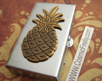 Pineapple Pill Box Vintage Inspired Pill Case Silver Tone Metal Tiny Pill Case Gothic Victorian Steampunk Tiki Style