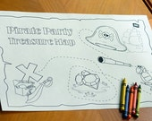 Pirate Party Treasure Map Coloring Page - 11x17 Printable