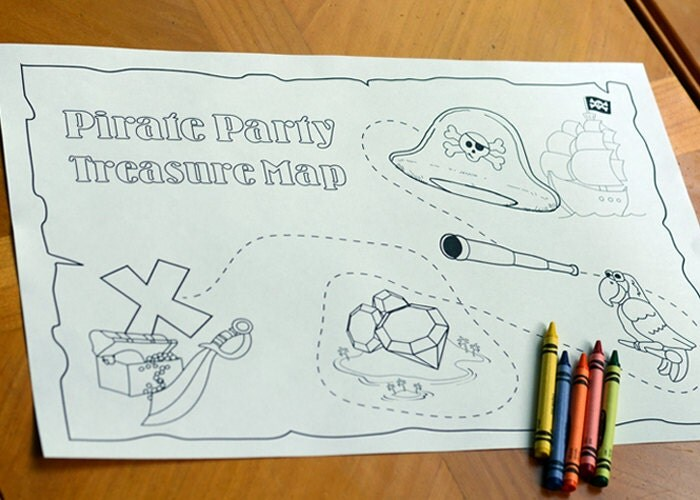 Pirate Party Treasure Map Coloring Page 11x17 Printable
