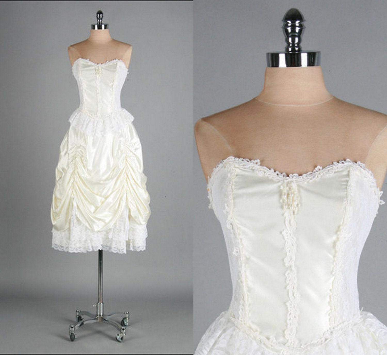Steampunk Wedding Gowns: Vintage White Wedding Dress Victorian Steampunk Burlesque
