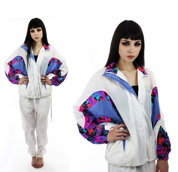 Neon 90s Reebok Windbreaker Jacket Vintage Colorblocked Suit Pants Colorblock 80s Hip Hop Indie Retro Athletic Sporty Small S M Medium