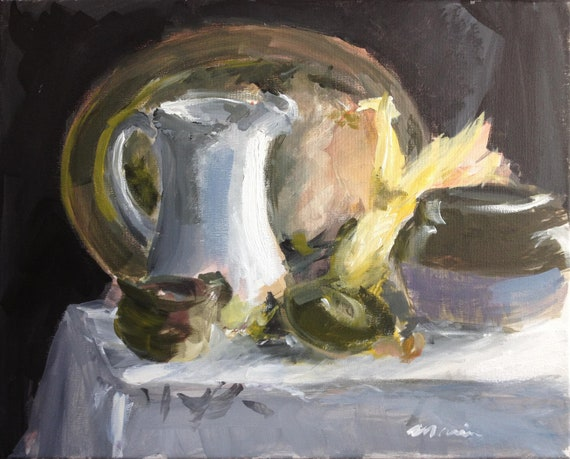 """Still Life Original Painting with Corn . """"Still Life with Corn"""" 16x20in."""