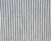Pillow Ticking Cotton Navy White Stripe Fabric Remnant Vintage