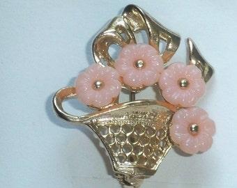 Vintage Flower Bouquet Brooch Pin Pink Flowers