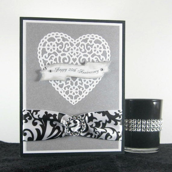 Elegant 25th Anniversary card, lace heart,  classic silver, black and white