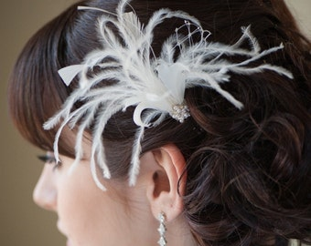 Bridal Feather Fascinator, Feather Hair Pin, wedding Feather Headpiece - FIFI