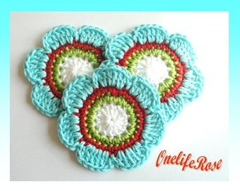Crochet Flowers 3 pcs