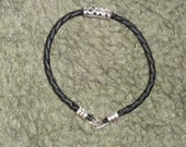 Women's Braided Black Leather Bracelet
