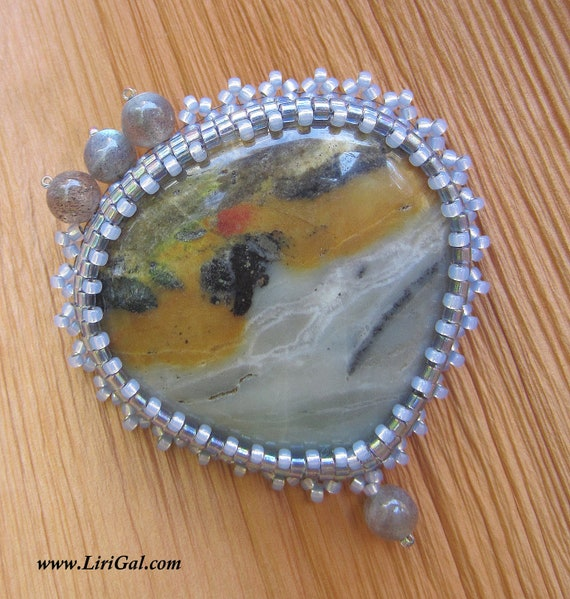 Winters Misty Dawn. Bead embroidered brooch EBWC