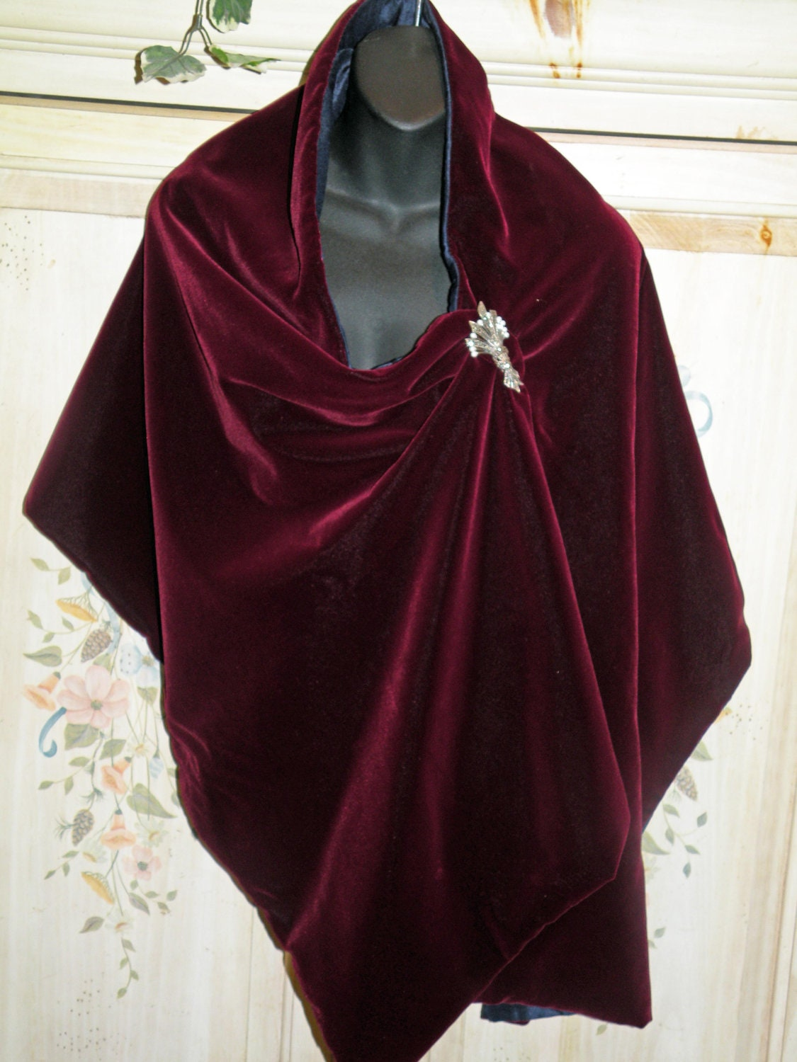 Silk Velvet Wrap Shawl Scarf Wine Red Matching By