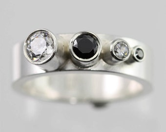 4 Stone Sequence Ring (CZ, Black CZ) made to order