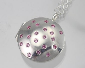 "Locket- Galaxy, Med. (Pink Tourmaline) (24"") Made to Order"
