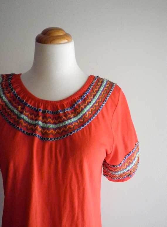 Darling red top wtih CUTE embroidery Small / Medium
