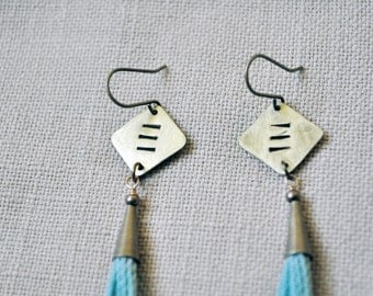 Mini Tassel Earrings with hammered brass in aqua