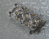 Vintage Czech Art Deco Silver tone and Rhinestone 2 Strand Necklace Clasp Signed or unsigned