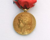 Vintage French Public Service Silver Gilt Medal