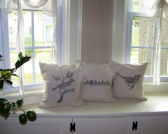 free shipping - set of 3 bird pillow covers - gray - bird on branch - bird pillow - antique image- bird pillows - spring - summer home decor
