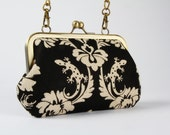Party purse - Echino Gothic in black - metal frame handbag with shoulder strap
