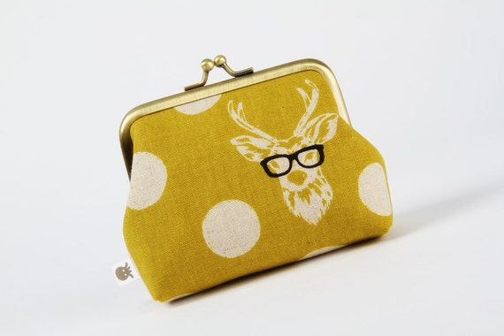 Deep dad - Echino Buck in yellow - metal frame purse