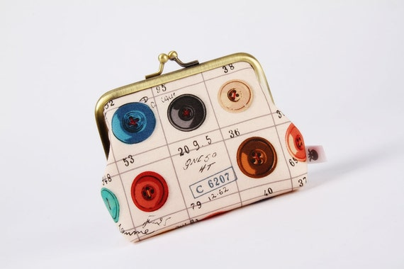 Deep dad - Colorful buttons on off white  - metal frame purse