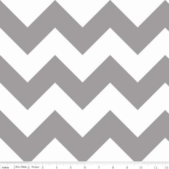 "Grey Gray Large Chevron Zig Zag on White Cotton Riley Blake Fabrics  - End of Bolt - 32"" length"