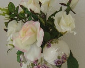 Teapot Floral Arrangement White 'n Blush Roses - OOAK by an EtsyMom