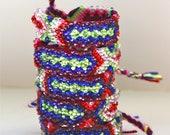 SALE-The Original Swarovski Crystal Friendship Bracelet-  Orchid Design (Blue, Pink, Green & Red)