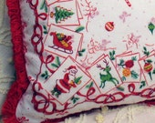 Santa In Your Corner Holiday vintage pillow