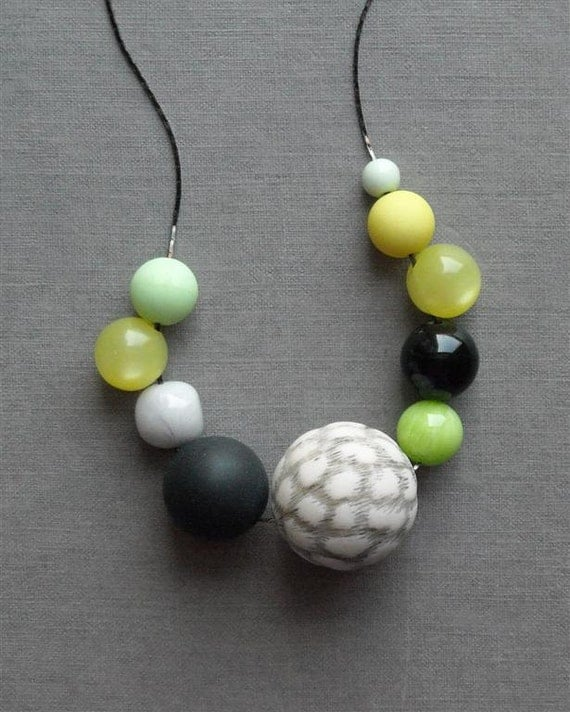 yeti necklace - vintage lucite and gunmetal chain