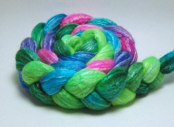 Pandora's Aquarium - 4 oz Turquoise Pink Green Handpainted Merino Bamboo Wool Top Roving