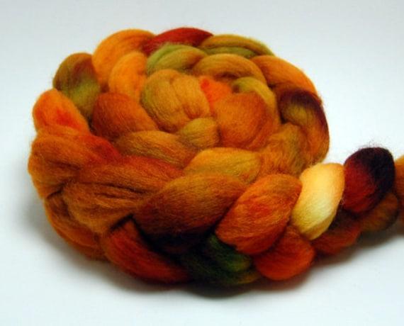 Pumpkinfire - 4 oz  Copper Orange Green Handpainted Falkland Wool Roving Top