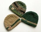 Baby boy hats green brown camo set of three crochet newborn 0-3 month photo prop