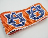 Auburn University Cuff Bracelet UA Tigers War Eagle SEC Football Beaded Beadweaving Custom Order Orange Navy Pearl