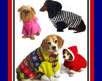 DOGGIE PULLOVER HOODIE Collection-Sewing Pattern-Four Sporty Chic Styles-Contrast Fabric Detail-Uncut -Size Small-Medium-Out of Print - Rare