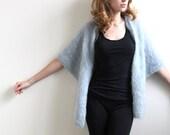 Blue Hand Knit Shawl