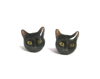 Black Cat Kitten Stud Earrings / Pet memorial gift / Pet Jewelry / personalized / Cat Lover / Pet Lover / Animal earrings / A025ER-C07