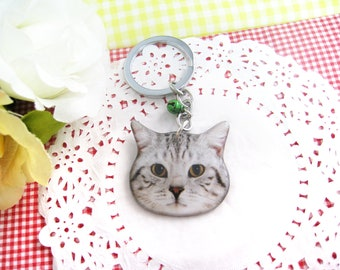 Grey and white striped cat head keychain / tabby cat / cat keychain / cat lover / cat gift / kitten / pet memorial / pet loss / A0015-K C22