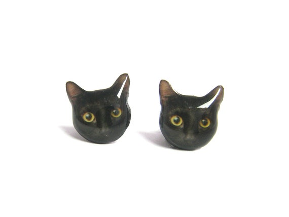 Cute Black Cat Kitten Stud Earrings - A025ER-C07  Mad e To Order  / Pet memorial gift / Pet Jewelry / personalized / Cat Lover / Pet Lover